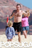 Ewan McGregor spent time with his family on the beach.