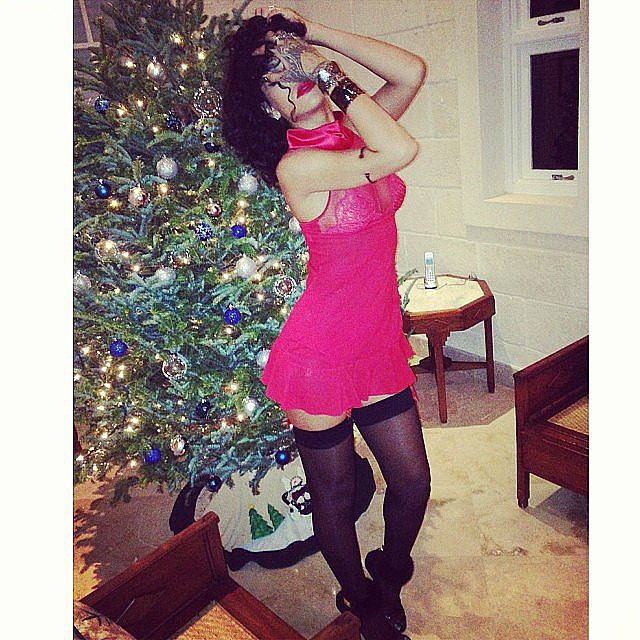 Rihanna got down and dirty in front of a Christmas tree in Barbados. Source: Instagram user badgalriri