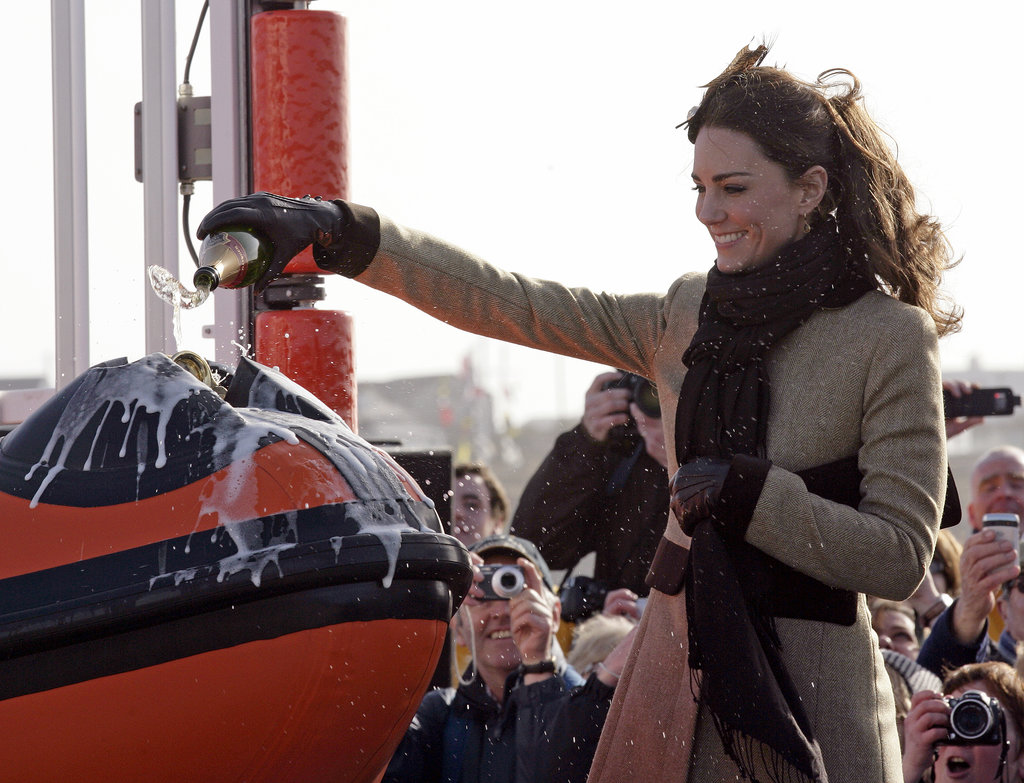 Kate Middleton sprayed Champagne over the bow of a dedicated lifeboat during a ceremony in Wales, UK, back in February 2011.