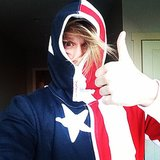 Chord Overstreet sported a patriotic onesie on Christmas Eve. Source: Instagram user chordover