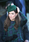 Kate Middleton wore a plaid coat and matching hat to the services.