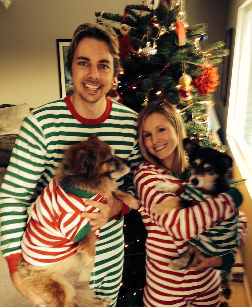 Dax Shepard and Kristen Bell (and their dogs) all wore matching onesies. Now that's dedication. Source: Twitter user daxshepard1