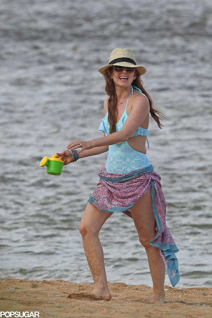 Isla Fisher hit the beach in Hawaii.