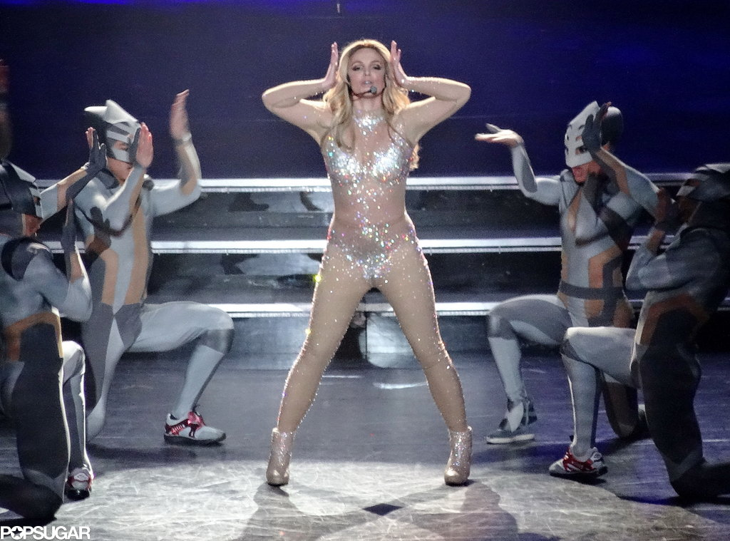 Britney Spears broke in her new costumes.