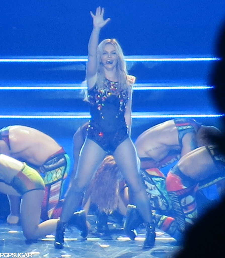 Britney Spears smiled at the audience.
