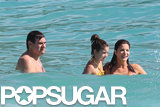 Stephanie Seymour took a dip in the ocean with her husband, Peter, and daughter, Lily.