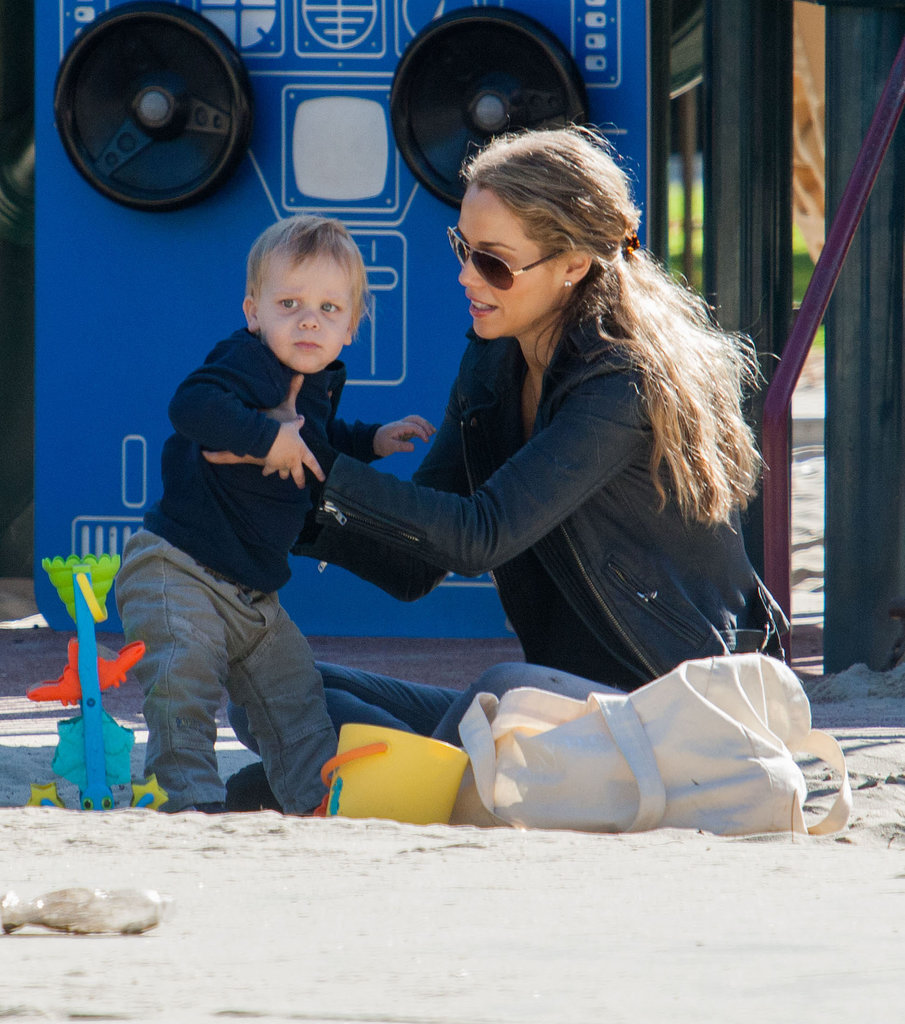 Elizabeth Berkley played with her son, Sky, at an LA park on Wednesday.