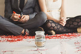 Have your guests put their New Year's resolutions in a pretty jar. Photo by Mark Brooke via Green Wedding Shoes