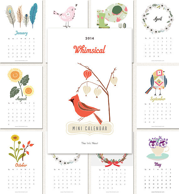 Whimsical Mini 2014 Calendar