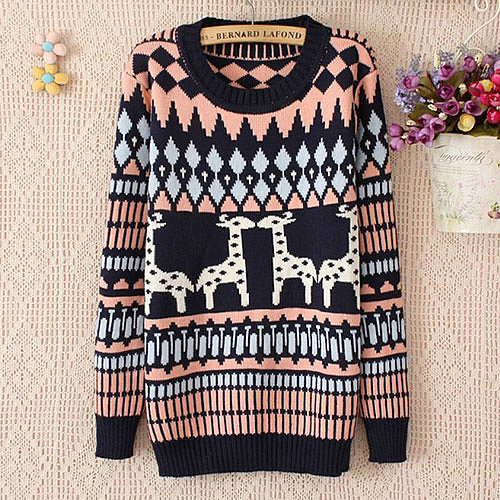 [grxjy560749]Geometric Pattern Mixed Colors Christmas Reindeer Knitted Sweater Crewneck Pullover