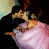 Ryan gave his bride, Kaley, a kiss on their wedding night. Source: Instagram user normancook