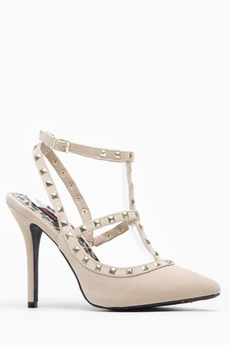 Doll House Pointed Toe T-Strap Pyramid Stud Nude Heels @ Cicihot Heel Shoes online store sales:Stiletto Heel Shoes,High Heel Pum