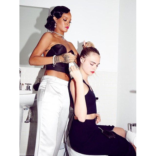 In true BFF fashion, Rihanna helped Cara with her hair.  Source: Instagram user badgalriri