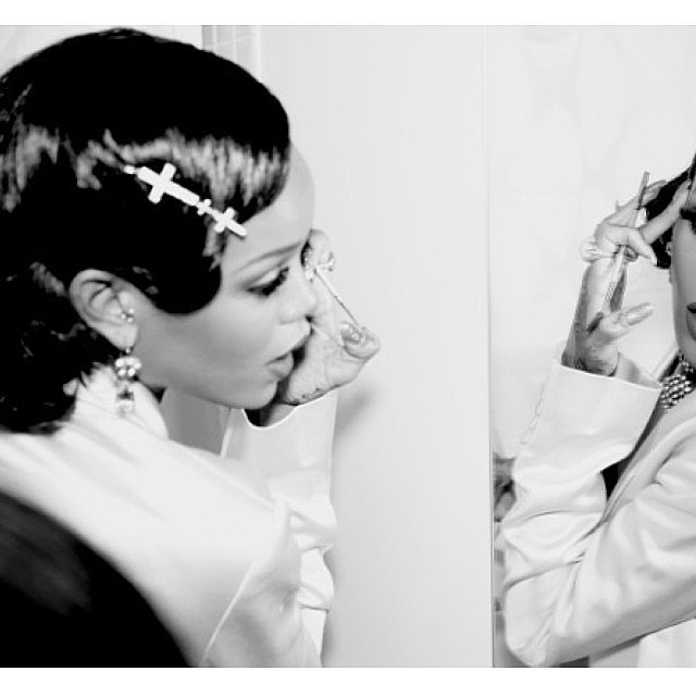 Rihanna gave herself a touch-up and showed off her glittering barrette by Lynn Ban.  Source: Instagram user badgalriri