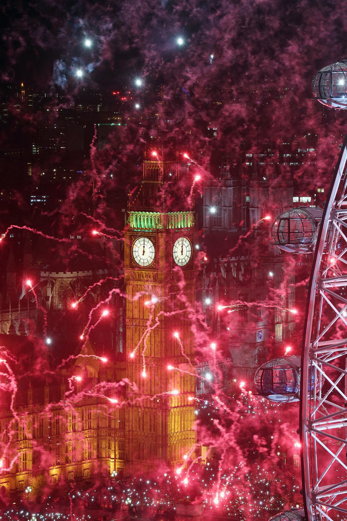 Fireworks filled the sky in London, England, on New Year's Eve.