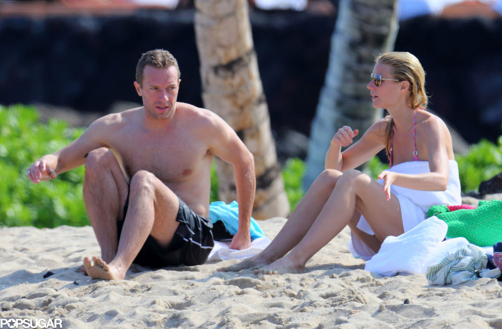 Chris and Gwyneth warmed up on the beach.