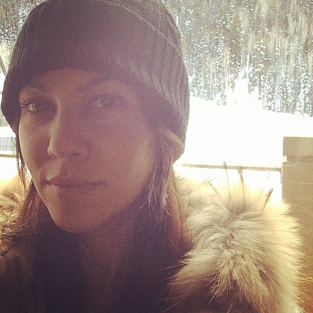 Kourtney Kardashian shared a snowy selfie before hitting the slopes in Aspen with her family. Source: Instagram user kourtneykardash