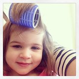 Harper Smith tested out her mom Tiffani Thiessen's rollers. Source: Instagram user tathiessen