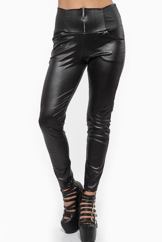 High Waist Zip Up Faux Leather Pants