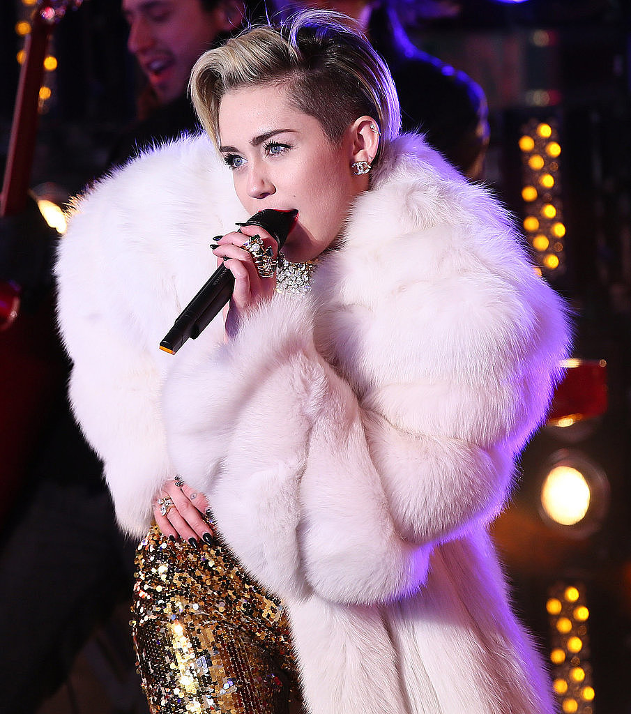 New Year's Eve typically means you pull out your most dramatic look and most sparkling ensemble, so of course everyone wanted to know how Miley Cyrus was styled on New Year's Eve (she is the queen of over-the-top looks, after all). This photo from her Times Square performance took off on Facebook.