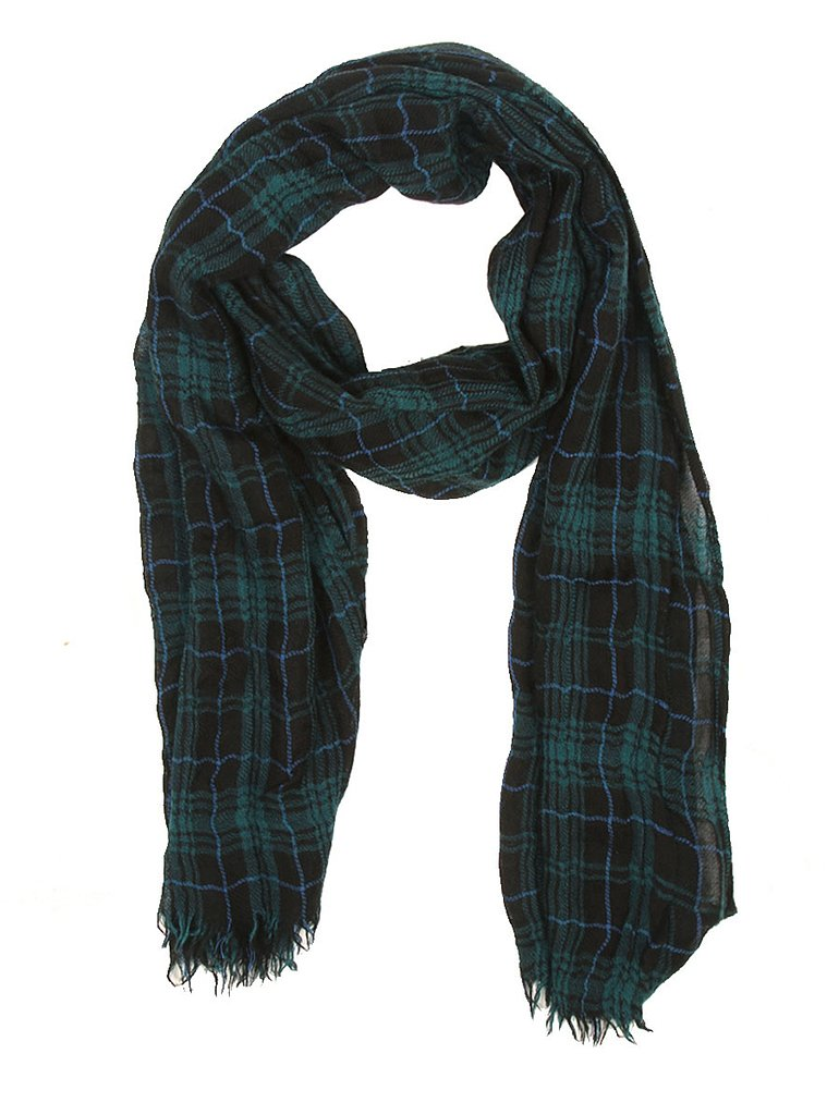 Ron Herman Dark Green Tartan Plaid Scarf