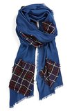 Nordstrom Blue Plaid Patch Scarf