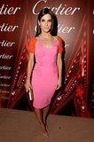 Sandra Bullock wore a pink dress.