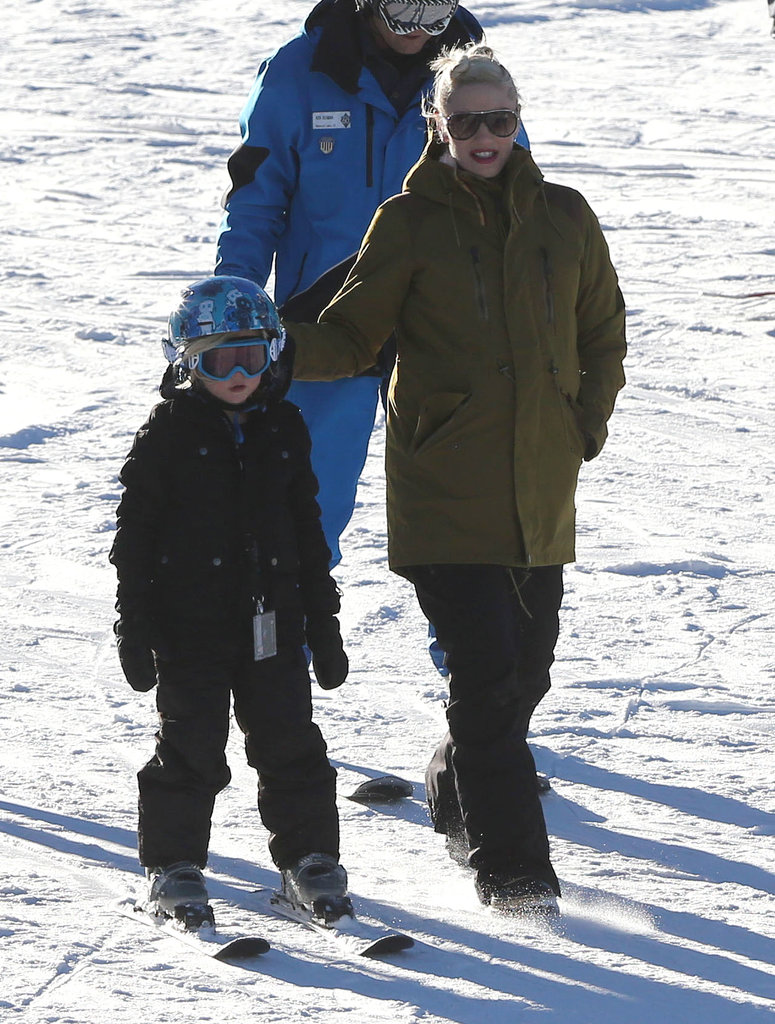 Gwen Stefani walked with her son Zuma during a family day on the slopes in Mammoth Lakes, CA, on Saturday.