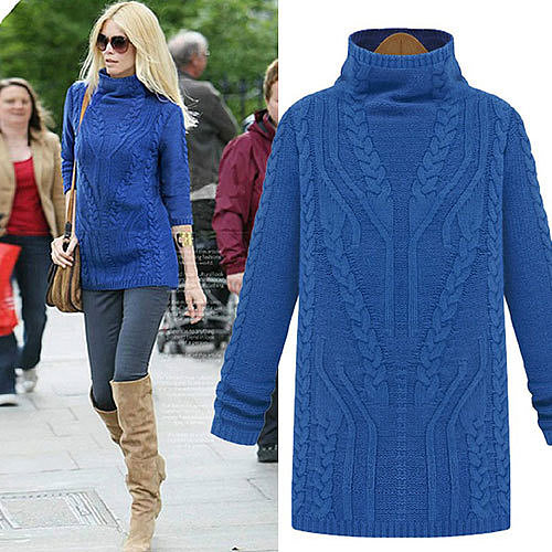 Image of [grxjy560787]Solid Color Turtleneck Cable Knit Slim Fit Sweater Pullover