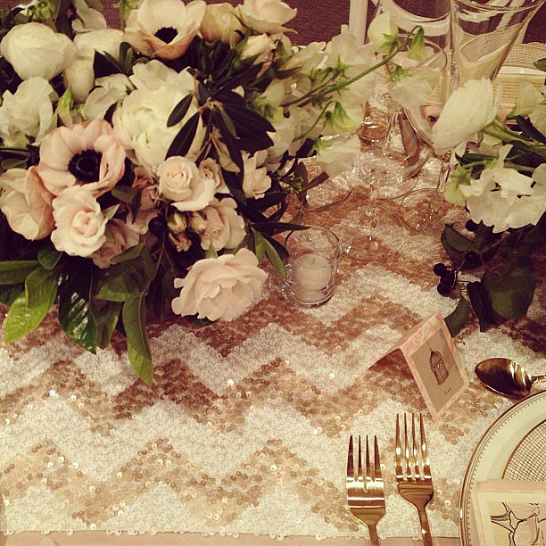 This chevron sequin table runner at the San Francisco Wedding Fair seriously made me want to do over my wedding.