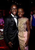 Lupita Nyong'o posed for photos with her little brother inside the dinner.