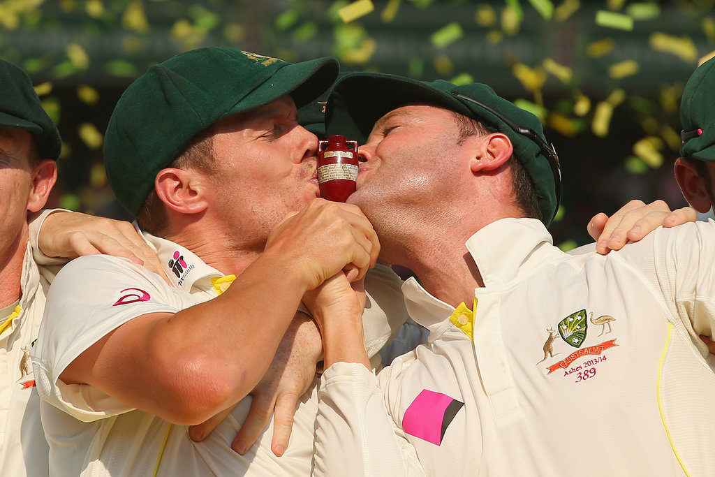 Peter Siddle and Michael Clarke kissed the urn to celebrate Australia's Ashes victory.