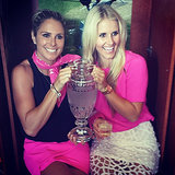 Candice Falzon and Anna Weatherlake got some personal time with the urn. Source: Instagram user annaweatherlake