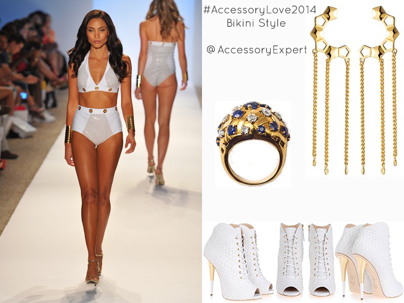 Aguaclara Collection Giuseppe Zanotti White Bikini Style Accessory Love Eddie Borgo Sapphire Gold Cocktail Ring