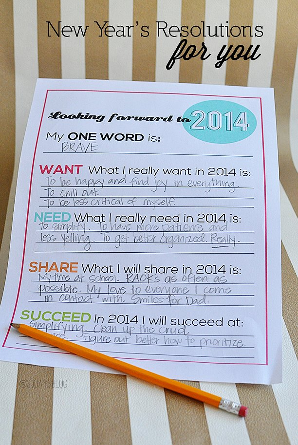 Word of the Year Resolutions Printable