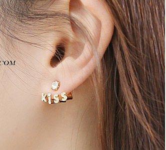 Rhinestone kiss letter earrings
