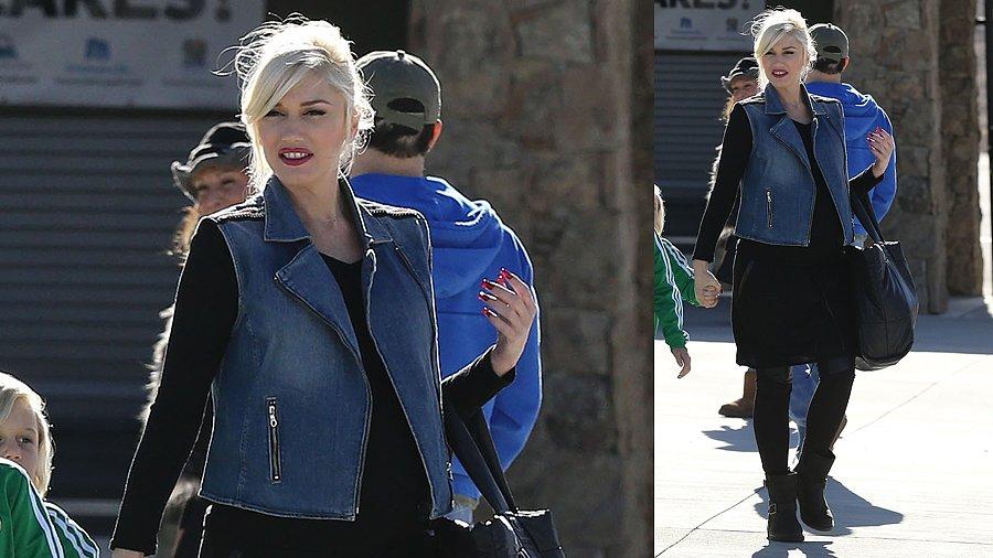 Gwen Stefani Makes the Denim Vest Work For Winter