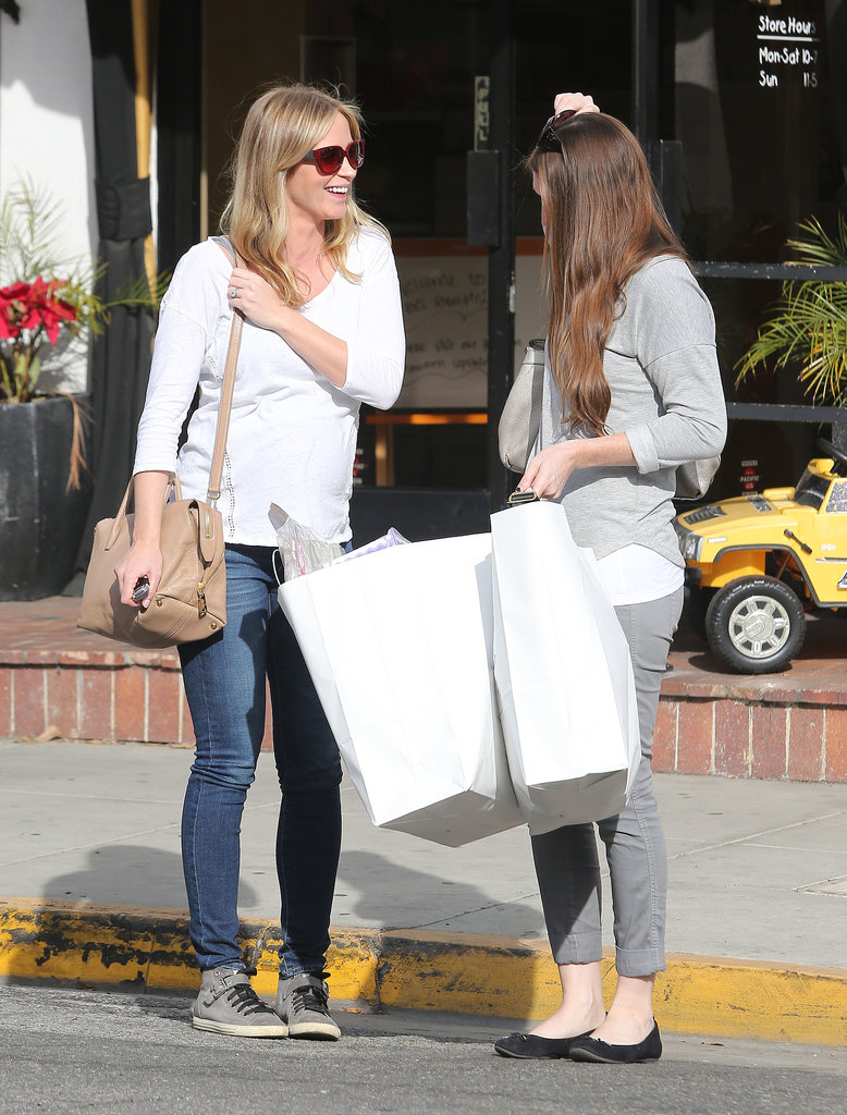 On Monday, Emily Blunt smiled while chatting with a friend during a shopping trip in West Hollywood.