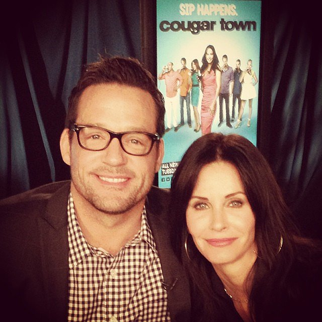 Josh Hopkins and Courteney Cox coupled up to promote the new season of Cougar Town. Source: Instagram user mrjoshhopkins