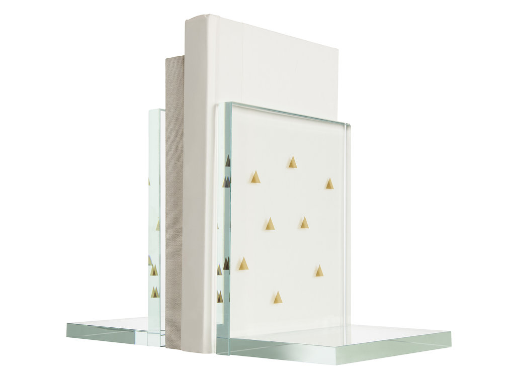 Glass Bookends ($15 each) get a playful twist with tiny gold triangles.