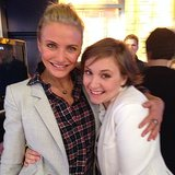 Cameron Diaz and Lena Dunham shared a hug during their visit to Good Morning America. Source: Instagram user camerondiaz
