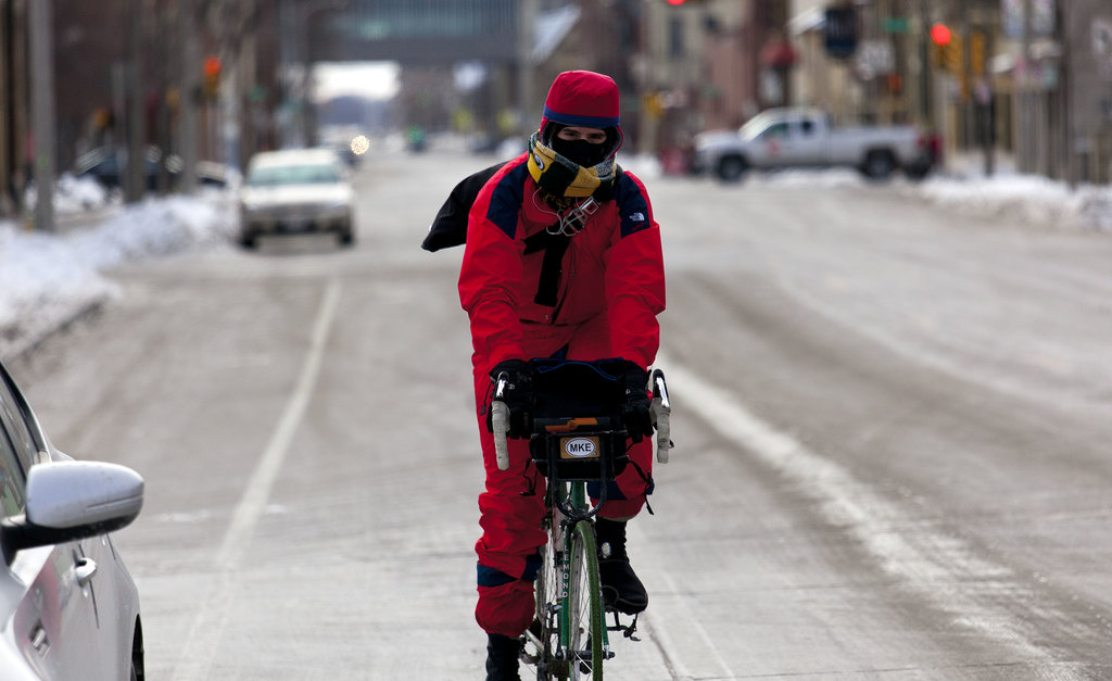 A cyclist wore extra layers for a ride around Milwaukee.
