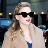 Scarlett Johansson Goes Retro With Red Lips and a Pin Curl