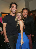 Kaley Cuoco got animated in between her new husband, Ryan Sweeting, and producer Mark Burnett.