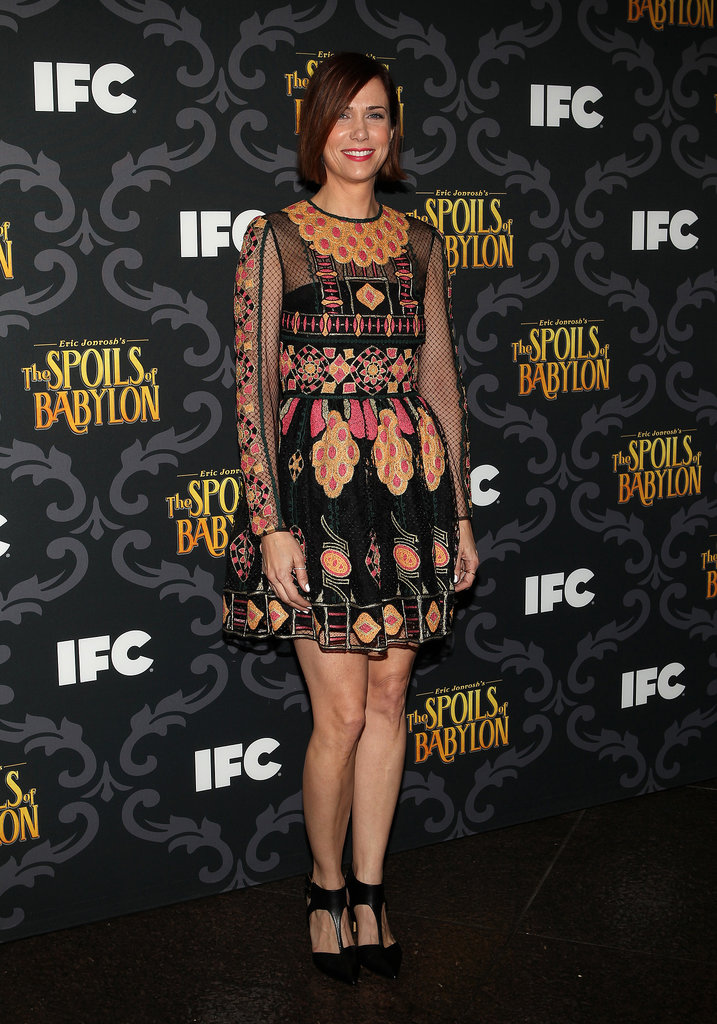 On Tuesday, Kristen Wiig wore a colorful frock at the LA premiere of The Spoils of Babylon.