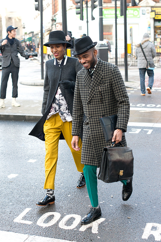 His and hers menswear that made a statement with bright trousers and smart hats.