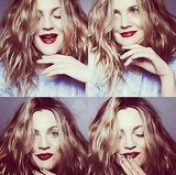 Drew Barrymore looked grunge-hot thanks to mussed-up hair and vampy lips. Source: Instagram user marieclairemag
