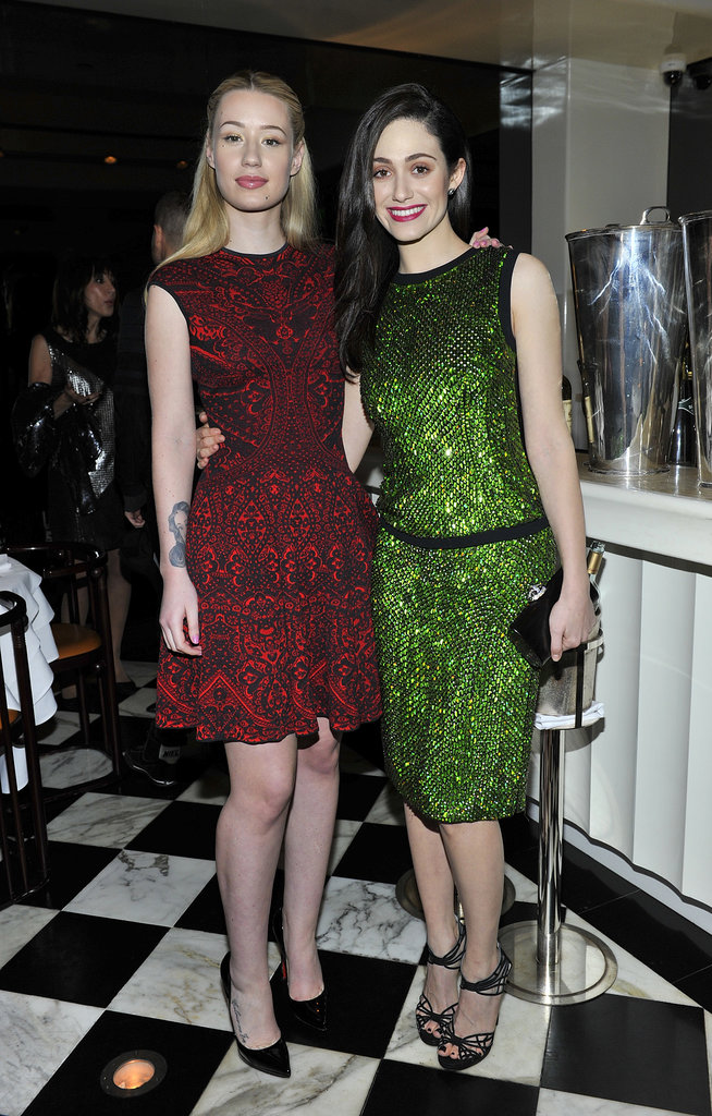 Iggy Azalea and Emmy Rossum at the Antonio Berardi dinner.
