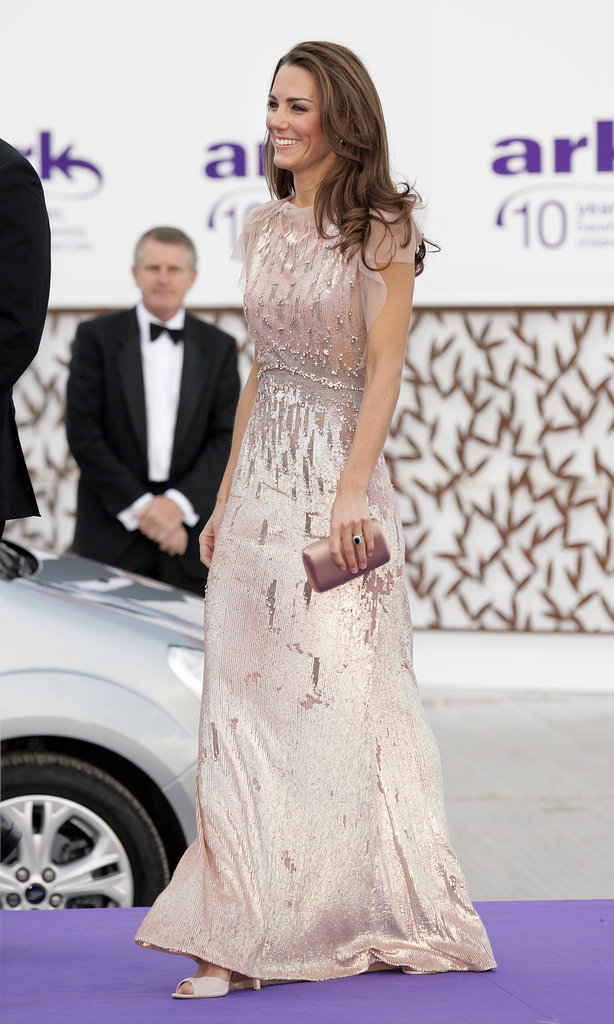 The Duchess glittered in a pale pink sequin gown by Jenny Packham for ARK's 10th anniversary gala dinner in June 2011.
