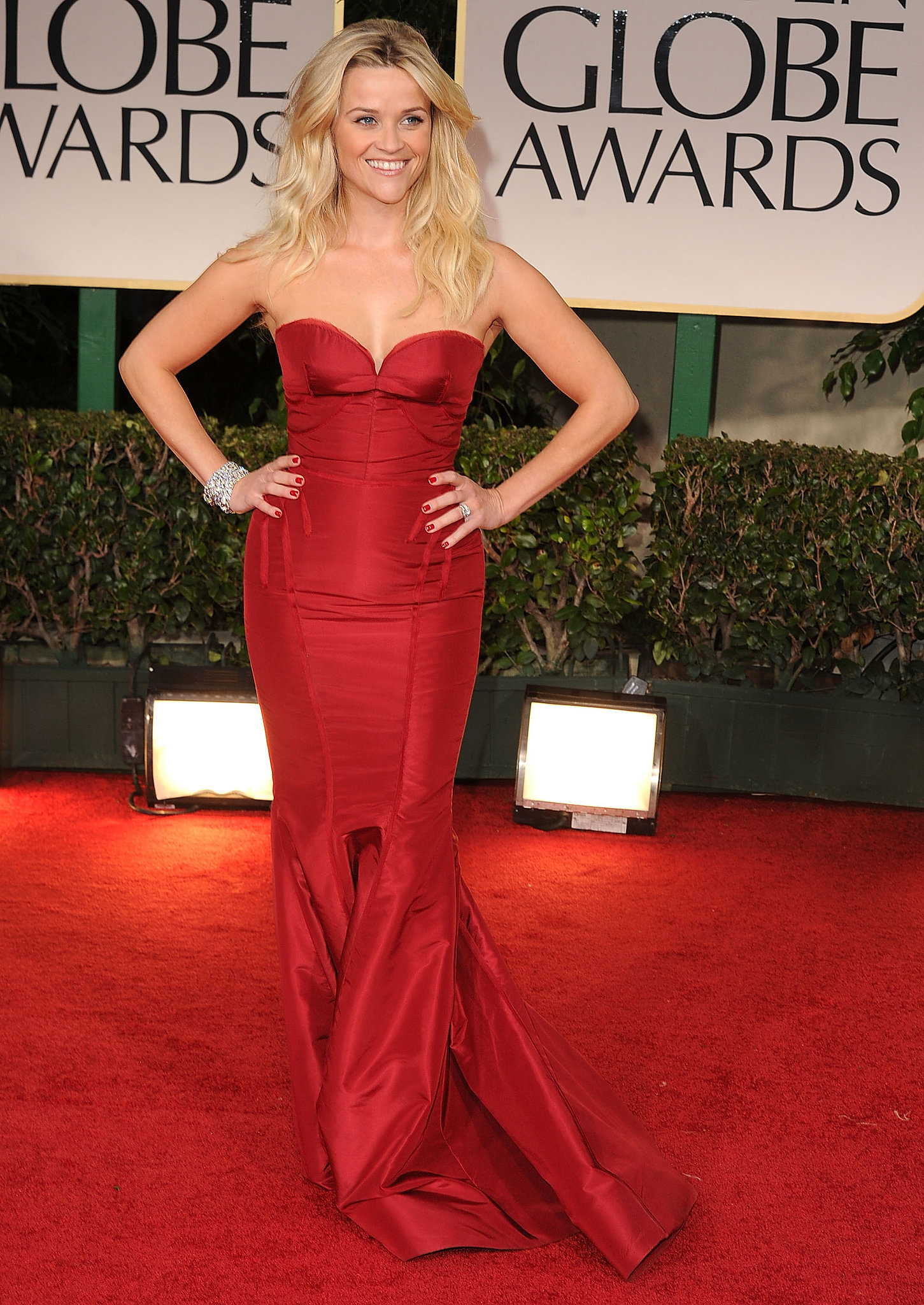 Reese Witherspoon in Zac Posen in 2012.